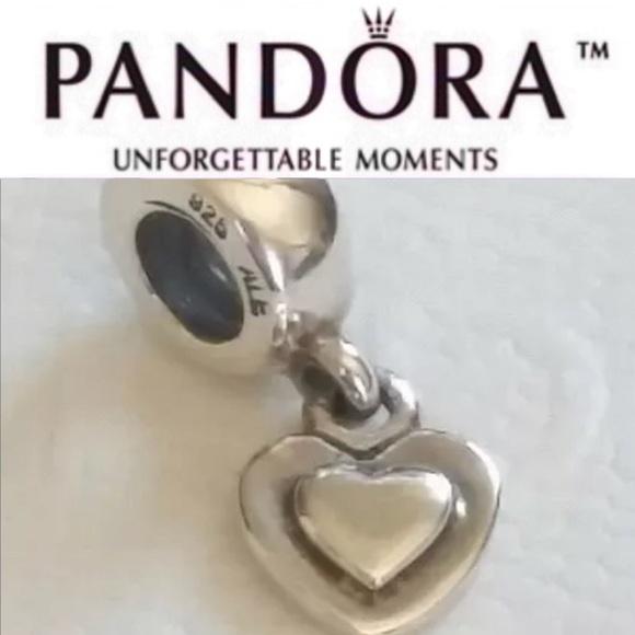 8e48741ec Pandora Jewelry | 790373 Retired Dangle Flat Heart Charm | Poshmark